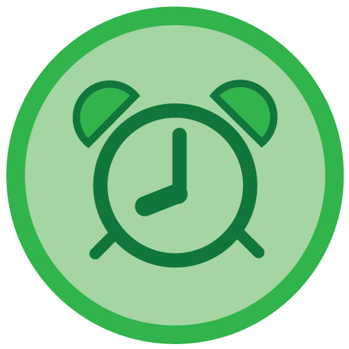 Green Clock icon set to 8:00
